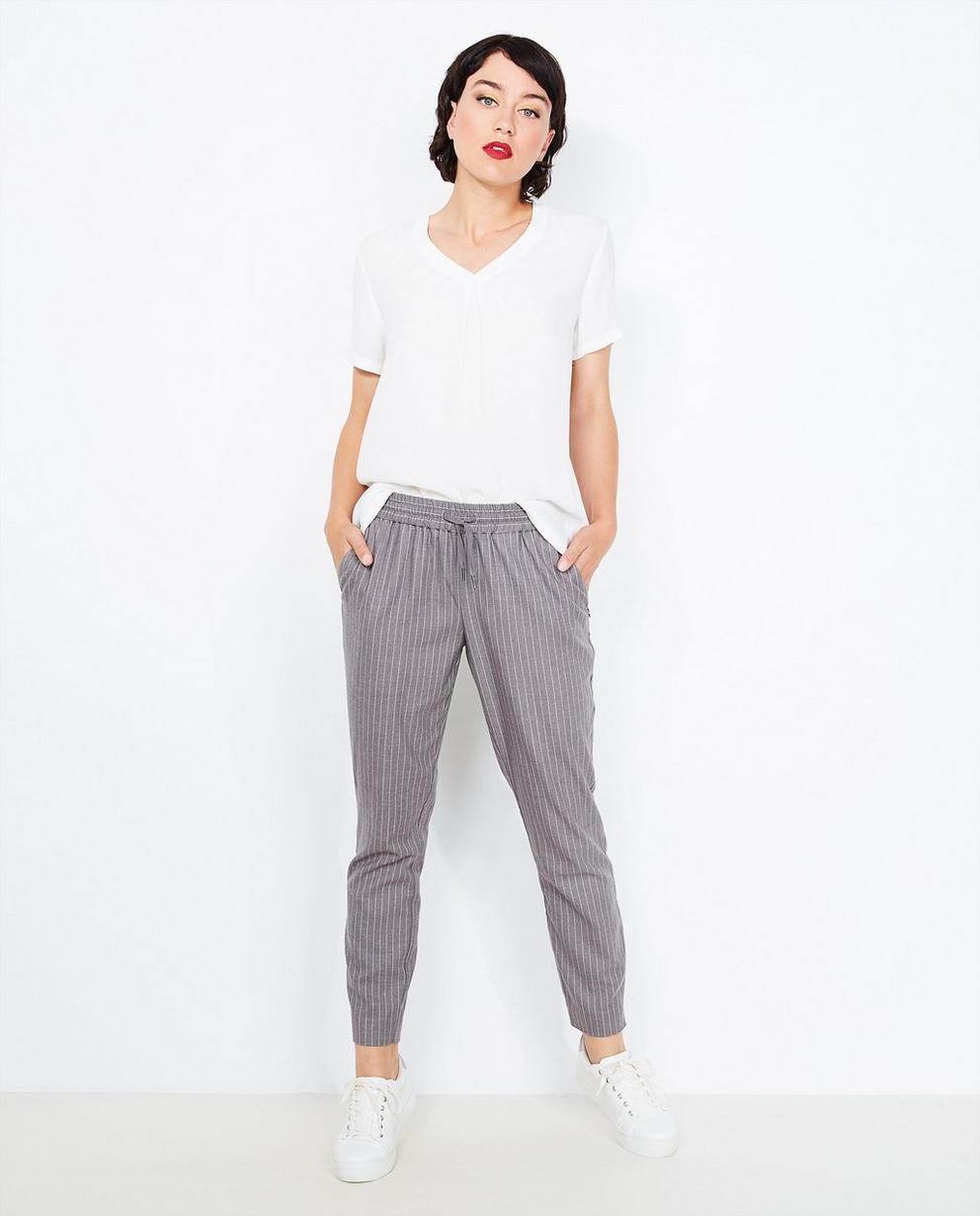 Grijze soepele pantalon - met pinstripe - Sora
